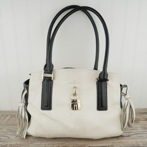 Dana Buchman black & white leather satchel tassel